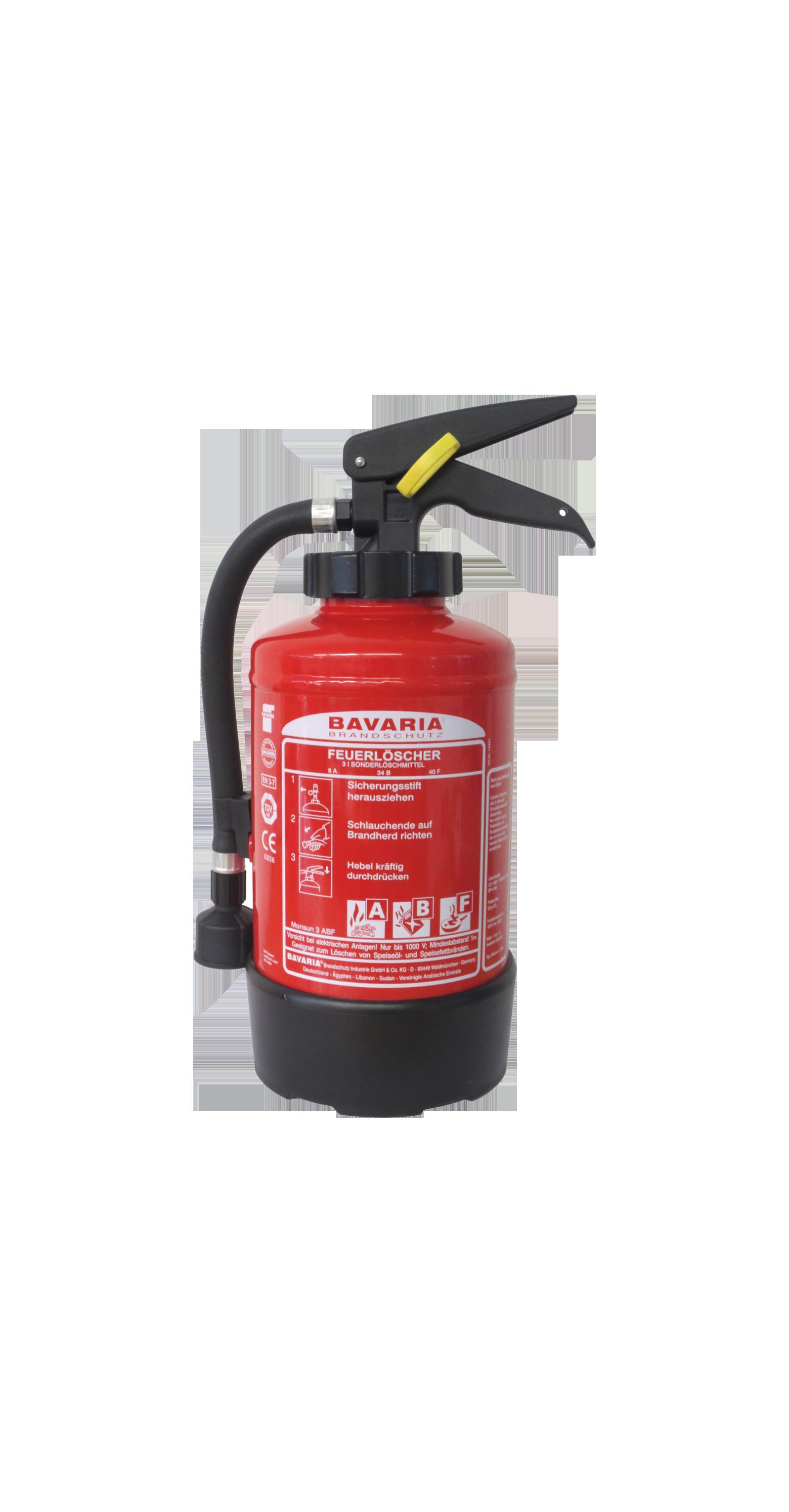 BAVARIA Monsun 3 ABF eignet sich ideal für Haushalt, Camping und Caravan. – BAVARIA 3l Fettbrandlöscher, frostsicher, 4LE – Fettbrandlöscher –