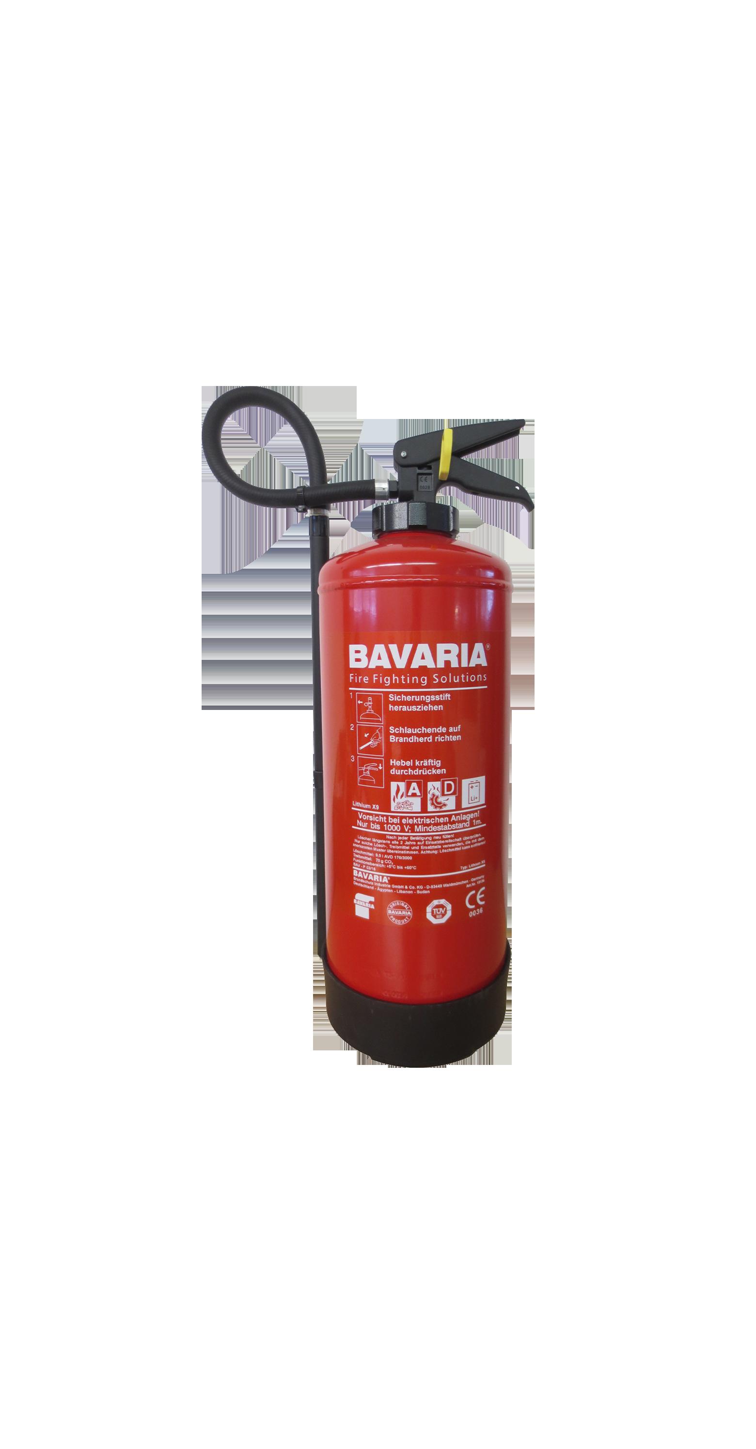 LithiumX9 – Bavaria Feuerlöscher 9 Liter für Metall-und Lithium-Brände.