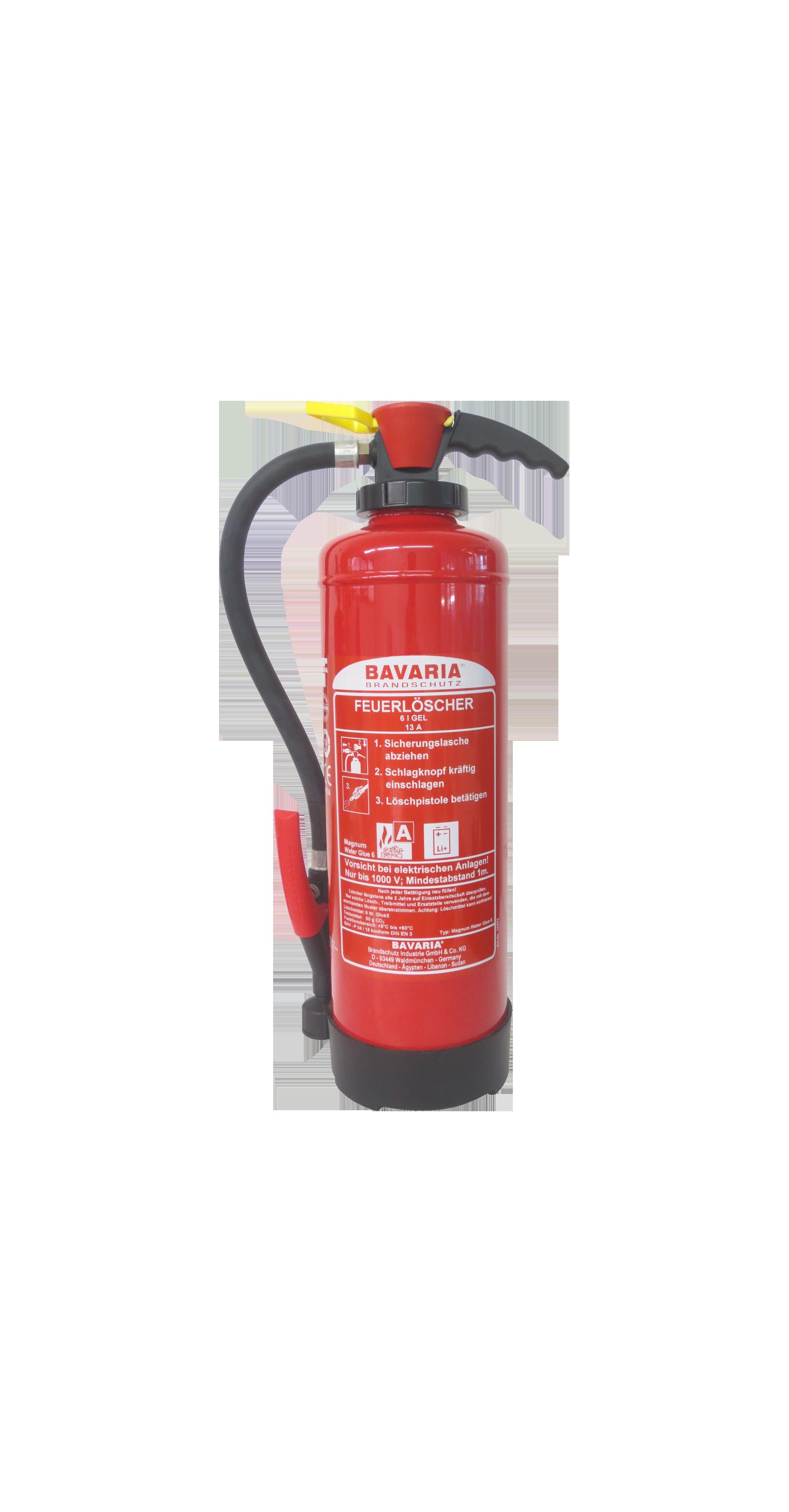 Magnum Water Glue 6 Bavaria Feuerlöscher eignet sich im Besonderen für Lithium-Ionen-Akkus.