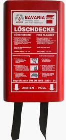 BAVARIA Löschdecke in praktischer Kunststoff-Montage-Box ist hervorragend zum ersticken von Speiseöl- und Fettbränden geeignet!